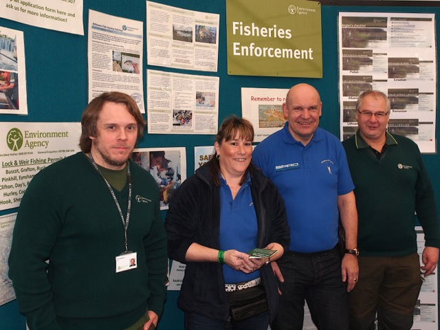 1.VBS at 'The Big One'! EA Fisheries Officers Nick Robinson (extreme left) and Mick Cox (extreme right), with Volunteer Bailiffs Marcelle Hutt and Gary Styles. The VBS has become both an increasingly important and successful partnership between the Angling Trust and EA - which anglers want to see extended soon to other areas of England.