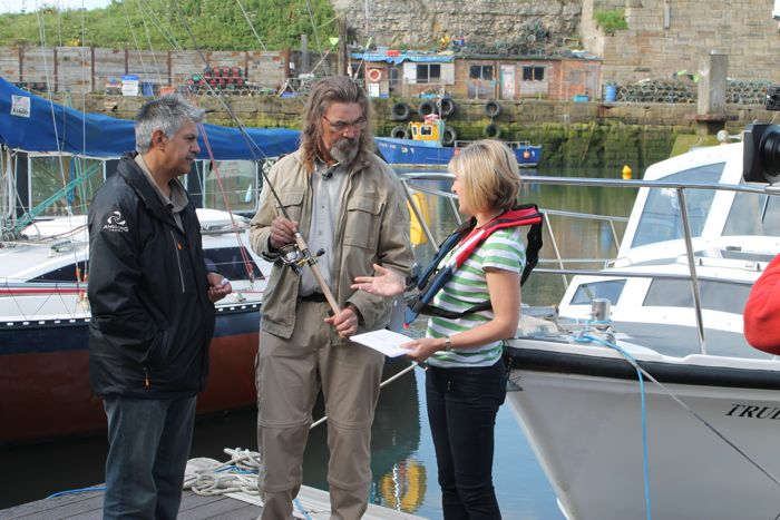 1.Angling Trust Fisheries Enforcement Manager Dilip Sarkar MBE and Angling Trust Ambassador Jan Porter – the victim of a high value tackle theft – launching our SmartWater partnership and campaign with Sian Lloyd on BBC Crimewatch Roadshow, 25 June 2014.