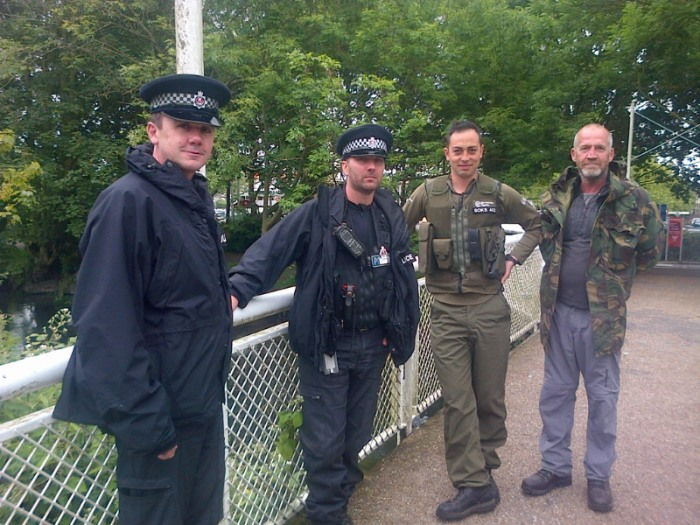 3.Fisheries Enforcement Officer Joe Kitanosono with Volunteer Bailiff Rob Anderson and Kent Police officers on patrol in Canterbury during Operation CLAMP DOWN 2.