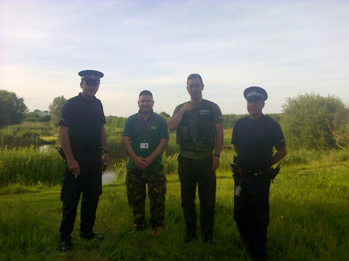 Our man in Kent again: EA fisheries officer Joe Kitansono with VB Ross Hunter and Kent Police officers patrolling a river near Canterbury.
