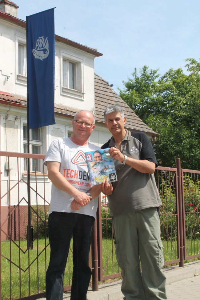 With Inspector Miroslaw Kachnicz at the regional PZW HQ in Koszalin. Miroslaw runs the 270 regional PZW volunteer bailiffs of a 5,000 strong force – and will be working with us to raise awareness of our problems in the Polish angling press.