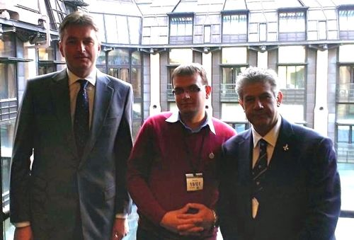 Daniel Kawczynski MP, Rado Papiewski and Dilip Sarkar MBE at Portcullis House, Westminster.