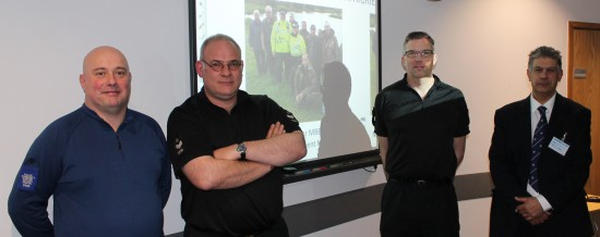Dilip Sarkar with Gloucestershire Police officers in January 2015. PCSO Mike Shuttleworth (left) is an angler, and supported by Sergeant Simon Clemett (second left) is really helping make a difference.