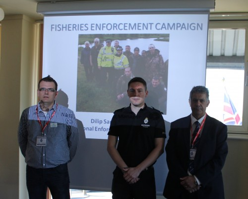 2.Angling Trust 'Building Bridges' Project Manager Rado Papiewski (left) with PC Marc Jennings and Dilip Sarkar at Wiltshire Police HQ, April 2015