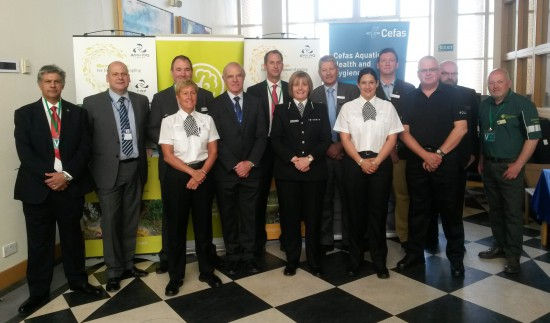 1.West Mercia Police's Assistant Chief Constable, Amanda Blakeman (third from right front row) with policing partners and representatives from the Angling Trust, EA, Cefas and NRW at the launch of Operation LEVIATHAN, 11 June 2015.