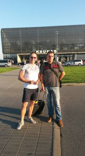 Martynas Pranaitis (left) with Angling Trust 'Building Bridges' Project Manager Rado Papiewski upon our arrival at Kaunas.