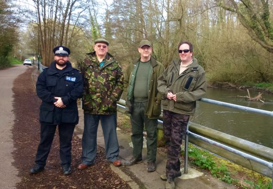 VBS Solent Area Coordinator Keith Dipper (second right), with Deputy Area Coordinator Brian Watling (second left) and Volunteer Bailiff Garnett Green patrolling the river Itchen at West End with PC Steve Rogerson of Hampshire Police during Operation CLAMP DOWN 3.
