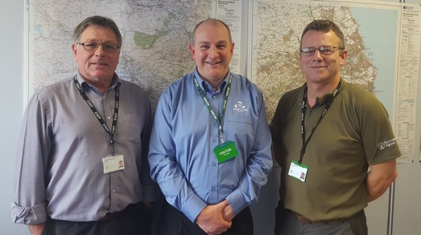NE REM Giles Evans with EA officers Kevin Summerson (left) and Dave Shears. Giles said 'I am so impressed with how dedicated all of the EA staff are with whom I've come into contact with so far, and I'm delighted to be in a position to do support their essential work'.