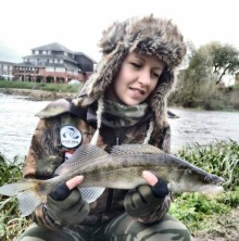 4.	Although the rivers have been high, Building Bridges Project Officer and passionate angler Patrycja Bury has nonetheless still been out there!