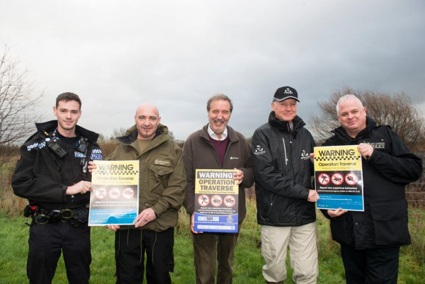 Special Constable Haddon Smith, Lee Watts (Environment Agency), Nottinghamshire Police Crime Commissioner Paddy Tipping, Angling Trust Midlands Regional Enforcement Manager Kevin Pearson and PC Nick Willey (Lincolnshire Police Rural Wildlife Crime Officer) at South Muskham Lakes near Newark, publicising the force joining Operation TRAVERSE.