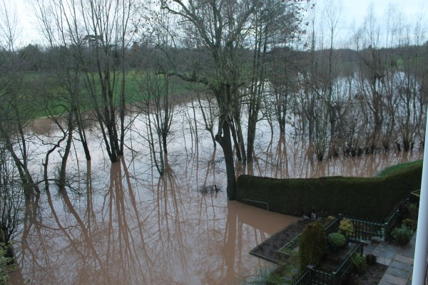 No fishing! Worcestershire and Herefordshire, including our back garden, is underwater yet again!