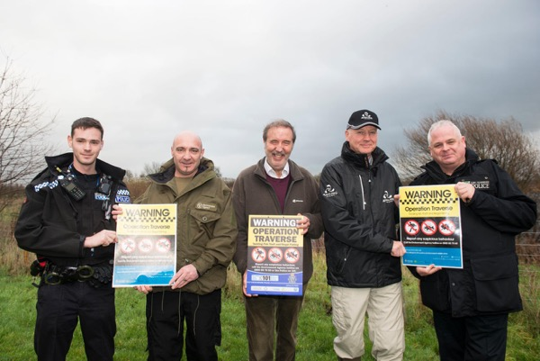 From left, SC Haddon Smith (Notts police), FEO Lee Watts (EA), Mr Paddy Tipping (Police and Crime Commissioner), REM Kevin Pearson (Angling Trust) and PC Nick Willey (Lincs. Police) supporting Op Traverse at South Muskham Lakes.